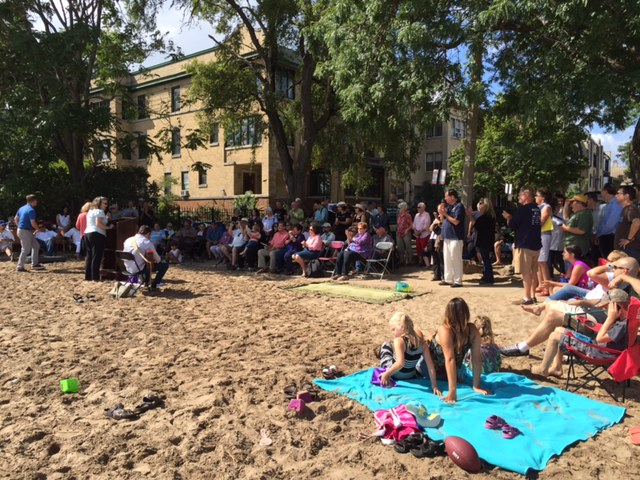Attendees at the Chicago Park District's dedication ceremony of Helen Doria Beach Park on Saturday, September 17th.
