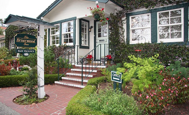 Briarwood Inn  San Carlos between 4th & 5th (831) 626-9056 • (800) 999-8788 •  website   In the center of Carmel-by-the-Sea, just a few steps from numerous galleries, shops and restaurants, the Briarwood Inn bed & breakfast spans three flower bedecked lots.