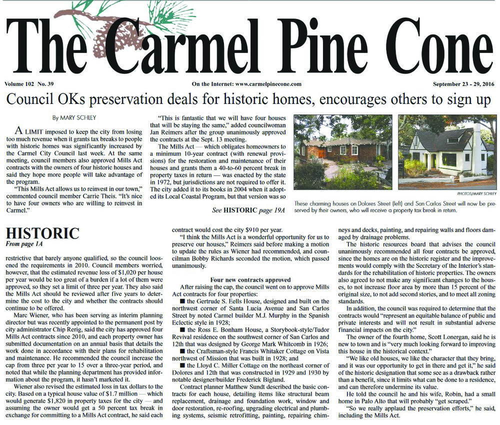 Carmel Pine Cone Sept. 23rd, 2016