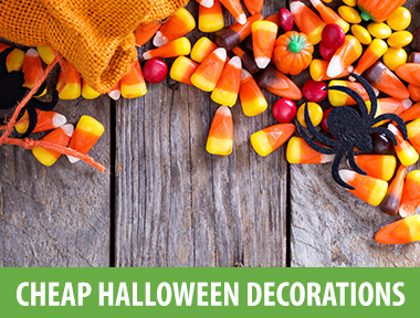 "Whether you caught the DIY bug from creating homemade Halloween costumes for your kids, putting together pretty decorated pumpkins, or you're getting crafty for the first time, these homemade Halloween decorations make it easy to trick out your house for the holiday inexpensively — but without looking cheap.   1) Boo Bottles     Raid your recycling bin to make these glass ghosts in four easy steps: First, remove labels and caps from bottles (we used Perrier ones here). Spray-paint them white, then draw faces on with black marker. Finally, throw in colorful straws for cute centerpieces. See more in the video below, featuring  InstaCraft :     2) Cobweb Coasters        Cups look creepy when sitting on these spindly saucers. Hook five bobby pins onto a 3/8-inch flat metal washer. Then, wrap twine around and thread through each bobby pin. Spray-paint everything white for that ghoulish look, and scatter small toy spiders around the table.     3) Spooky Terrarium         Today's Creative Blog  gives a creepy twist to the cute woodland world. After you search the backyard for twigs, moss, and rocks, scour the house for small Halloween-themed decorations like skulls and scary birds. Then, build your scene on an upside-down lid of a Mason jar. When your miniature landscape looks complete, screw the jar onto the lid and place in the window or next to your front door in lieu of a pumpkin.     4) Vampire Napkin Rings        Serious chompers make your table settings look so cute it's scary. Splash white cloth napkins with red Kool-Aid, thread a white twist tie through a set of plastic vampire teeth, and finally secure a twist tie around the center of your napkin.     5) Creepy Wall Hangings         The Graphics Fairy  makes Halloween decorating easier with three free printables and a simple technique to transfer the images directly onto fabric using your regular printer. (Make sure you have a full black ink cartridge.) Wooden embroidery hoops come from the craft store for under $2. If fabric hangings aren't your thing, pop images into frames and hang them up around the house.     6) Ghostly Lanterns        Cheap and cheerful: Draw  spooky faces  on empty, clean gallon milk jugs, then fill with white holiday lights to decorate your porch or walkway with a ghostly Halloween glow.     7) Wicked Witch Candy Dish        Turn a pair of old heels into a  bewitching candy bowl . Wrap the heels in cheap sparkly paper, then decorate and fill with Halloween treats.     8) Hanging Bats and Ghosts        Kids can help turn egg cartons into  bat  decorations; just cut, paint, and add googly eyes. Make cute, cheap Halloween ghosts by painting leaves white, then drawing a spooky face with a marker.     9) Forever Pumpkins        For cheap  jack-o-lantern  decorations that will last past Halloween, cover clean, empty jars with orange construction paper or tissue paper. Add features with black construction paper, then pop in a tea candle—with flames, or battery-operated—and watch your ""pumpkin"" glow.     10) Crafty Spider Sacks        You won't want to dust away these Halloween cobwebs: Create chic, cheap yarn  spider webs  to decorate light fixtures, drape over curtains, or hang from a railing. Don't forget to attach a tiny plastic spider to each sack.     11) Bloody Table Runner        The geniuses at  Brit + Co.  have made Halloween that much more festive with this so-simple-its-insane DIY. Your materials: Gauze, red acrylic paint, and a paintbrush. Dab your paintbrush into the red paint and sporadically brush along the gauze runner. For a truly Dexter-inspired look, swipe some red paint onto Mason jars for candle votives and on plastic cups (add a handprint or two for really gruesome settings).     12) Lace Pumpkin        To give the classic lantern a new look, do like Amy from  Postively Splendid  and spray your pumpkins with white paint before wrapping them in strips of lace. No lace fabric handy? Try using a thick lace headband, or cut a strip of lace stocking and fit around the widest part of the pumpkin.     13) Spider Garland        We screamed when we saw this creepy, crawly banner from  Oh My! Creative . Glue black yarn ""legs"" onto a pom and add a small dot of glue upon which to sprinkle orange sparkles. ""While the spiders are drying (2-3 hours), cut the paper straws in half with scissors,"" blogger Susan writes. ""Sew through the belly of the spider...Then string them along alternating spiders and straws.""     14) Candy Corn Garland        Using paint chips in shades of yellow and orange, you can knock out these cheap  candy corn garland  decorations—sweet! Another idea: turn the paint cards into  mini jack-o-lantern  shapes.    1 5) Boo-tiful Wreath      Make a  ghostly wreath  decoration with cheap white felt ghosts and a black bow. You can spray your wreath gray or black, or leave it natural. Even sweeter:  Wrap lollipops in tissues  to make ghostly Halloween treats, then cover a wreath by tucking under a ribbon or attaching with glue.     16) Candy Corn Vases     Set the scene with cheap  candy corn vases  by decorating a Halloween table, windowsill, or mantel. Simply spray clean, empty bottles with orange, yellow, and white paint.     17) Front Door Mummy        Make a ghoulish first impression with this five-minute Halloween door DIY from  Honey and Fitz . First, tape paper streamers to the front door, overlapping the strips to give a wrapped look. Then, cut sheets of black and white construction paper into circles to make eyes. Place the eyes on the top of the door and tape to secure.     18) Halloween Ornaments        Christmas ornaments make festive, cheap  Halloween bulbs  to decorate a house or yard. Cover ornaments in paper mache, then paint with Halloween designs like striped witch's stockings, pumpkins, or ghosts.     19) Mummy Seating Cards        Decorate inside and out for Halloween with this ingenious idea from  Curly Birds . Glue gauze, googly eyes, and cardboard to fashion small, square mummies. Set them out as place cards for a Halloween party, drop a few into the candy bucket for trick-or-treaters, or send to school with the kids to give out to classmates"