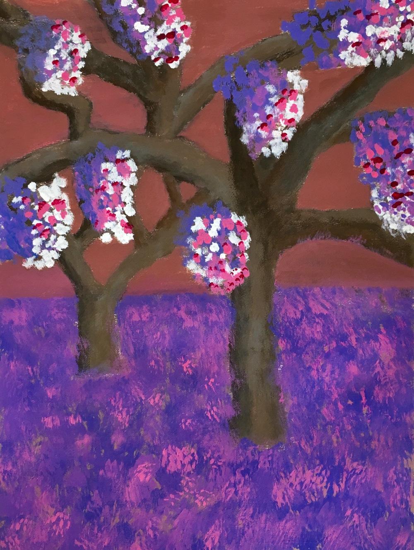 """""""Jacaranda"""" Acrylic on Paper 24x18"""