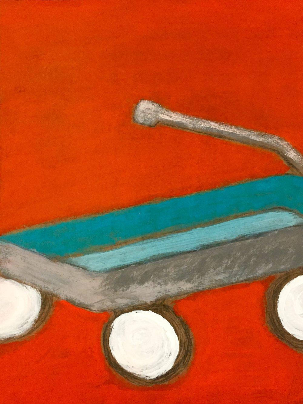 """""""Blue Ryder"""" Acrylic On Cardboard 24x18"""