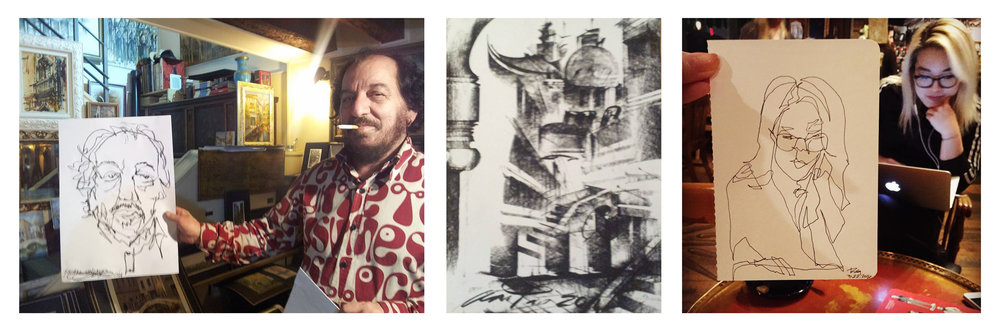From left to right: my drawing of Anton in charcoal, Anton's drawing of Venetian elements in charcoal , my drawing of Lily in ink