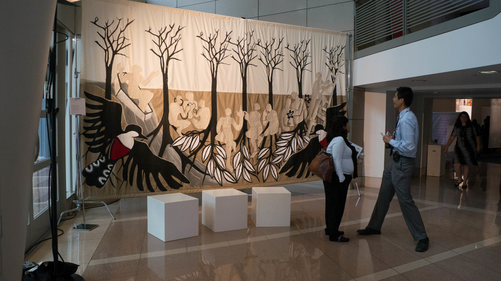Roots of Development. Hand-Sown Tapestry at the Ronald Reagan Building in Washington DC during the Frontiers in Development conference in 2014