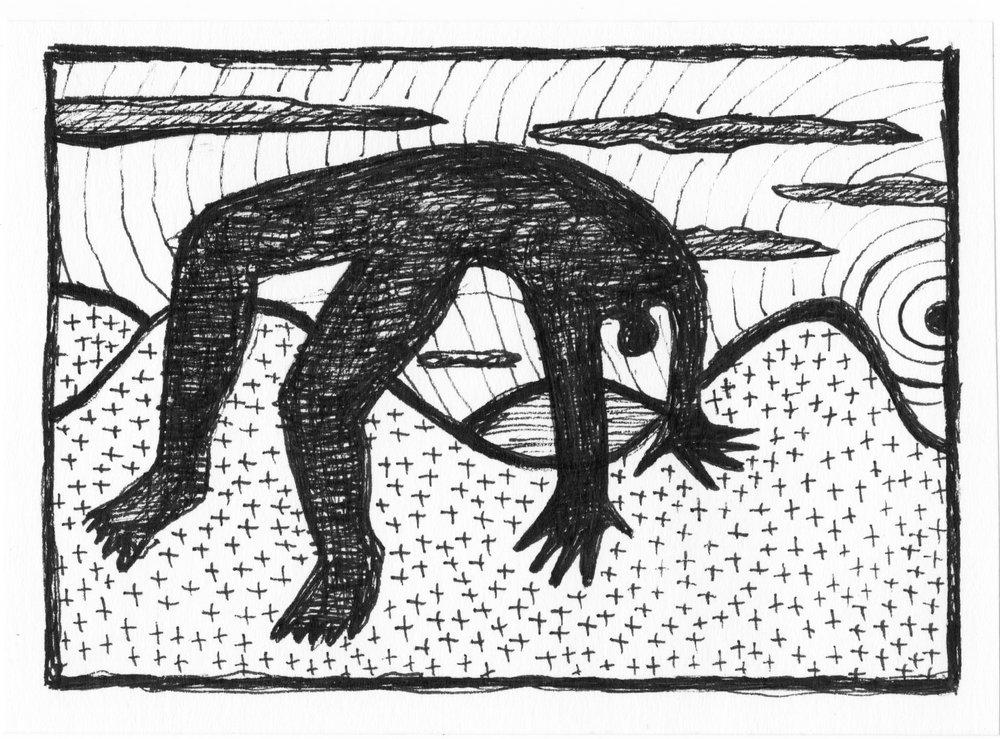 """Creux pour les vallées  2018 . Archival ink on paper  3 1/4"""" x 5 3/8″ [Available for Sale: 📧 nathalie@jolivert.com] www.jolivert.com"""