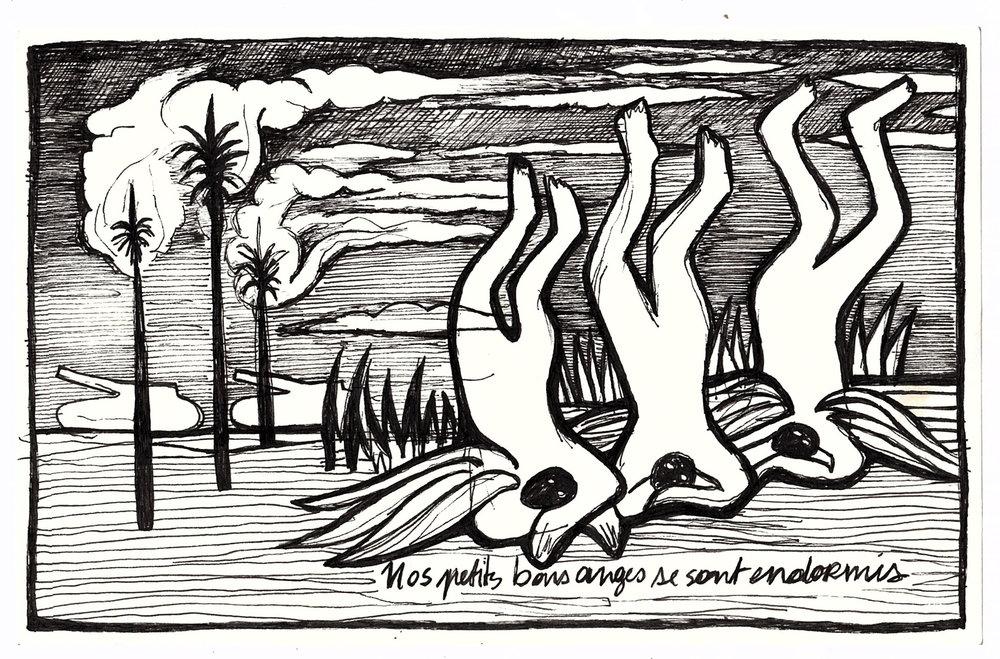 Nos petits bons anges se sont endormis 2017 . Archival ink on paper
