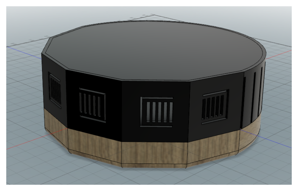 Render with flexible switches added. Number of flat panels and color scheme had not yet been decided.