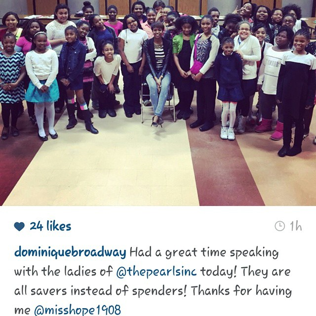 Thanks for speaking to @thepearlsinc today.  We enjoyed have you @dominiquebroadway.. #saving #spending #investmemt
