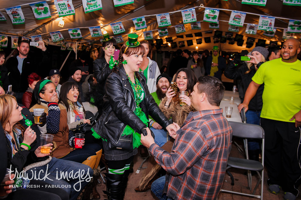 "Paul proposed with a tent full of friends during St. Patrick's Day party in Oklahoma City.  Even with me dodging her line of sight during the ""right"" song, Kristal had no clue.  Check out her reaction."
