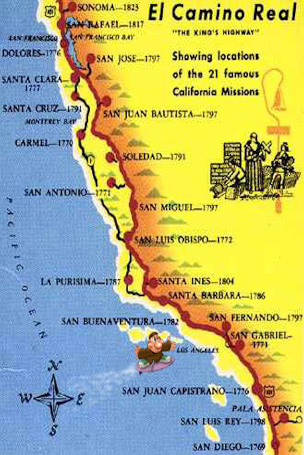 photograph relating to California Missions Map Printable named California Missions - Classes - Tes Practice