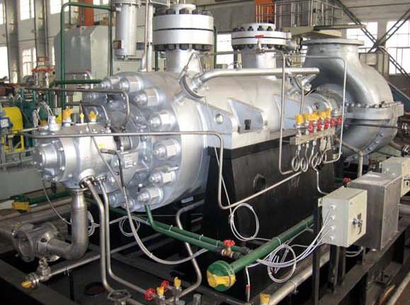 Driven by steam turbine