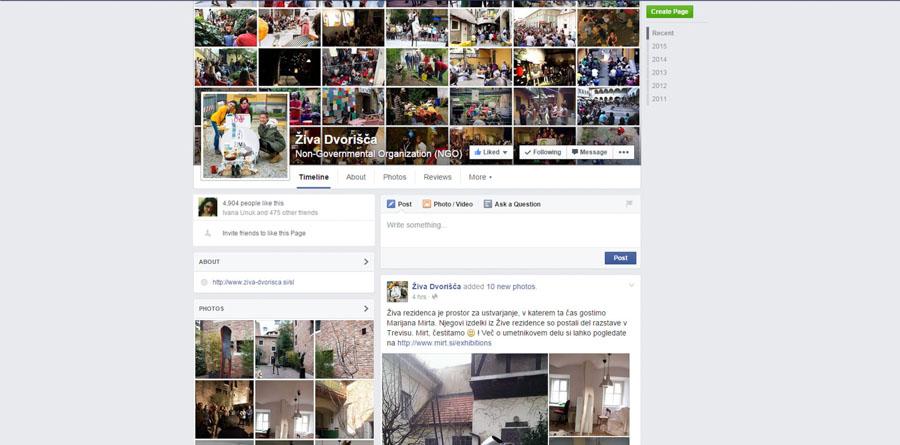 Facebook stran živih dvorišč