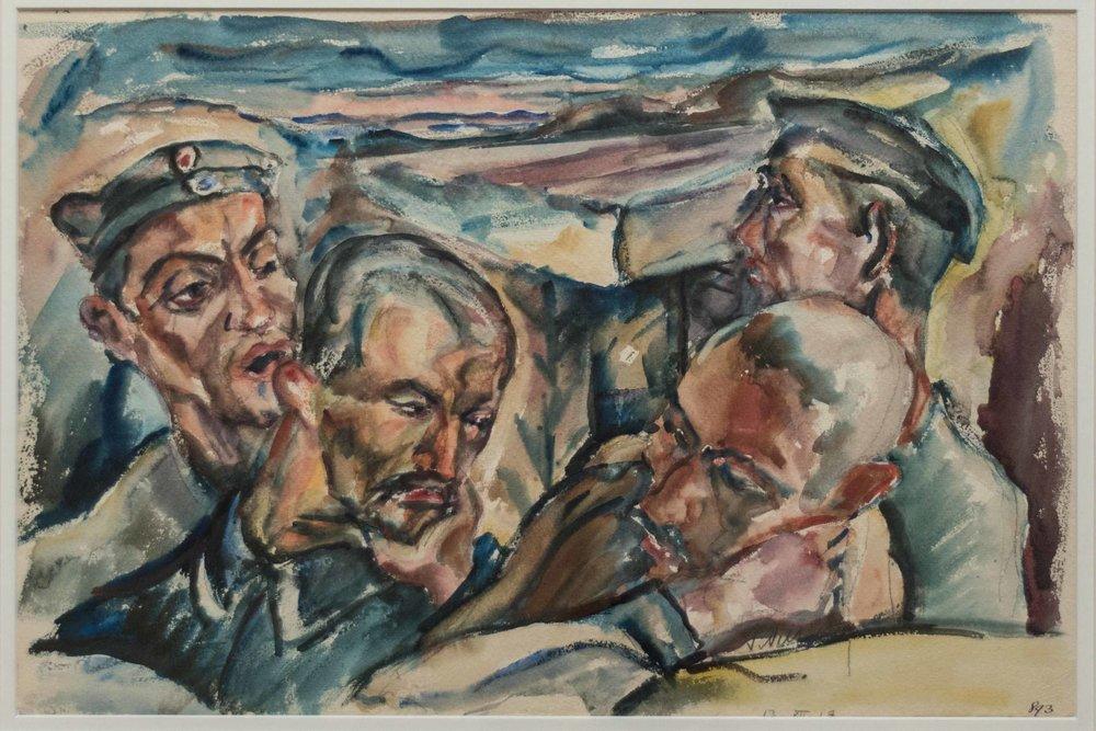 Jan Oeltjen, Štirje vojaki, akvarel na papirju, 1917