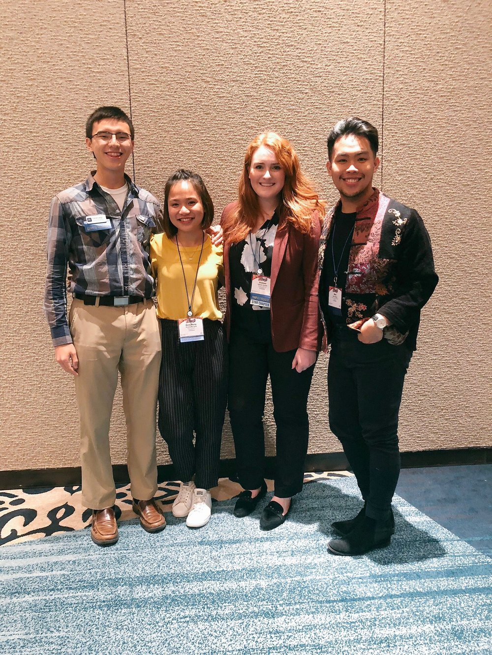 (From Left to Right: University of Nevada Chapter President Daniel Long, SUNY Plattsburg New York Chapter President Haily Dang, University of Oklahoma Chapter President Chelsea Journee, University of Central Oklahoma President Marc Estuche)