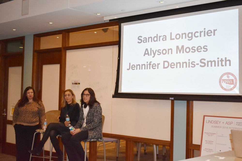 From left to right: Jennifer Dennis-Smith, Alyson Moses and Sandra Longcrier shared their advice about how to succeed in the PR field.