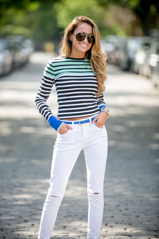 Sweater: T by Alexander Wang | Denim: Joe's Jeans | Pumps: Christian Louboutin | Bag:  Reed Krakoff