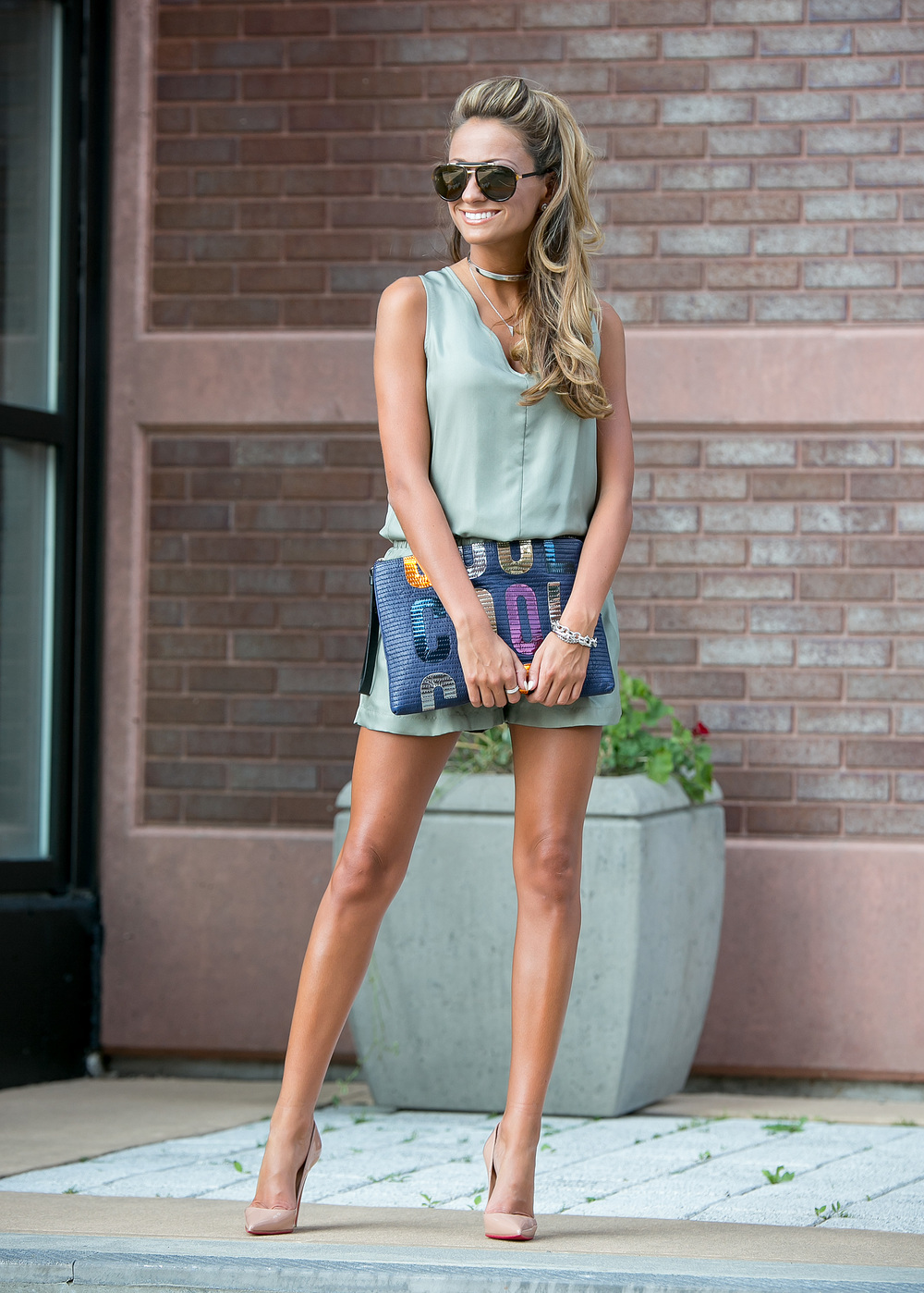 streetstyle blogger wearing rag and bone romper, christian louboutin pumps, and a lanvin clutch