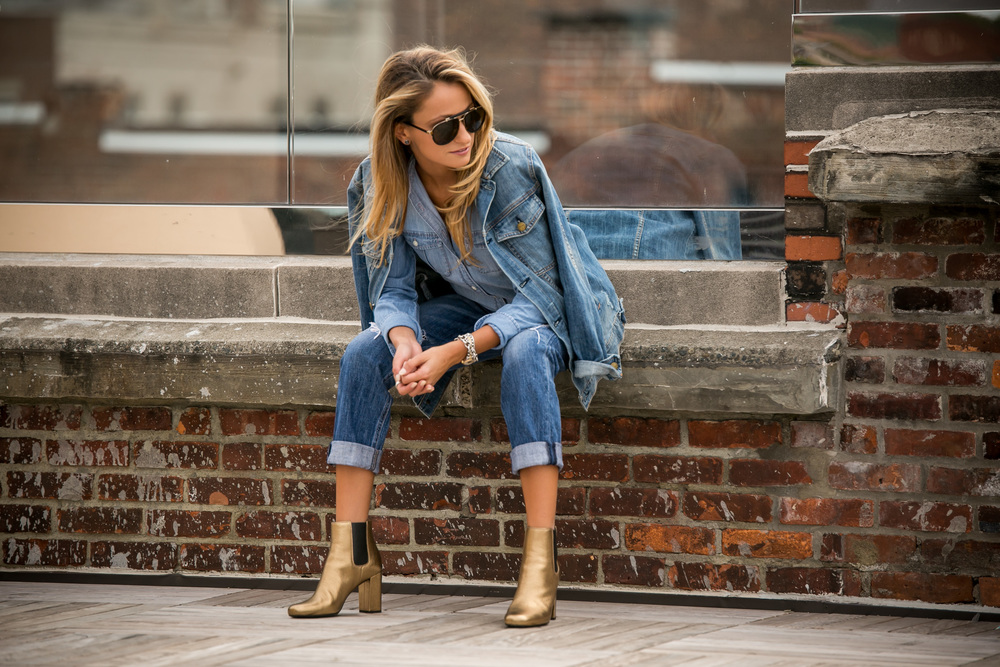 all denim and saint laurent gold boots