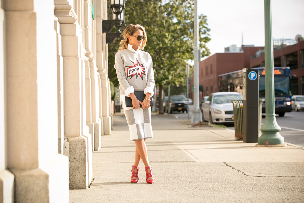Sweatshirt: MSGM |Skirt:Derek Lam ( last seen here )|Pumps:Alexandre Birman(older)    Dino Petrocelli Photography