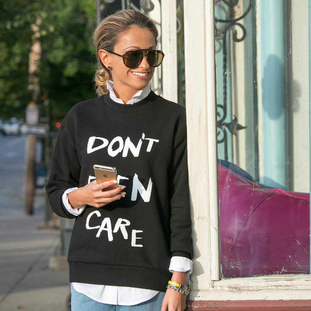 Sweatshirt: Etre Cecile | Jeans:Etre Cecile| Boots: Saint Laurent     Dino Petrocelli Photography