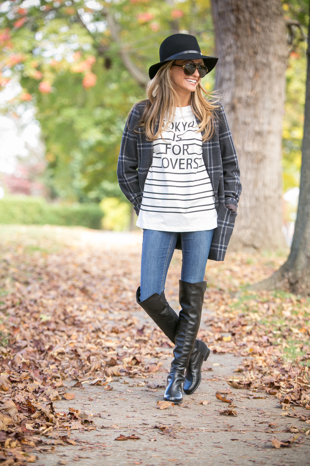 streetstyle in J.O.A. plaid coat, H&M tee, and Stuart Weitzman over-the-knee boots