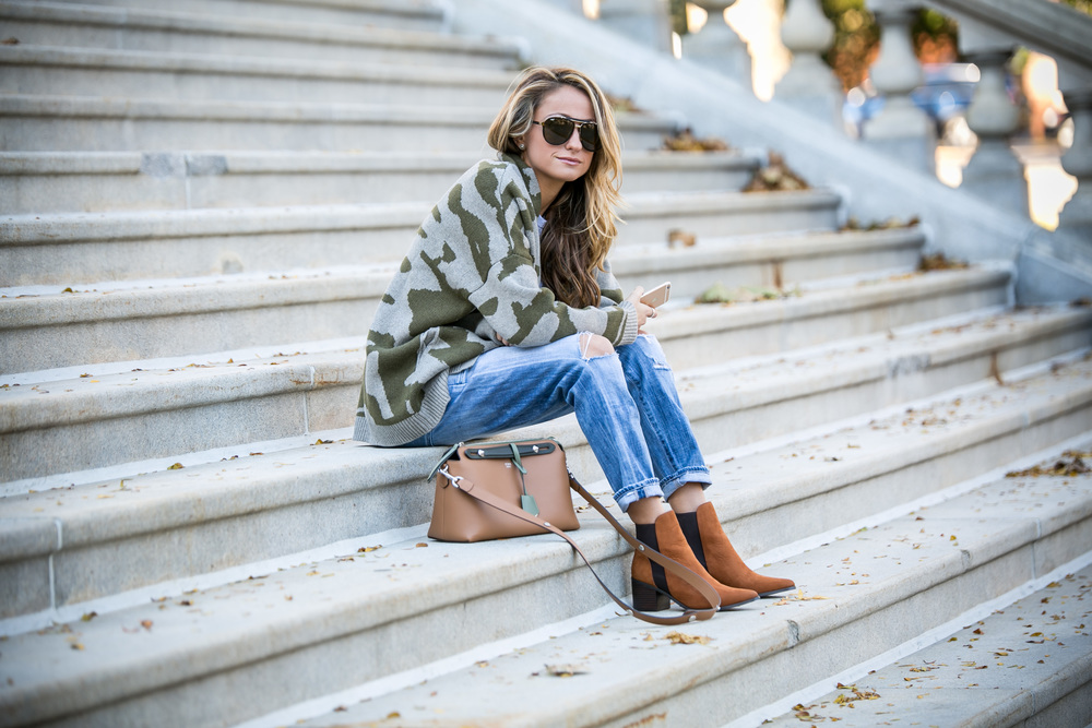 Camo sweater and fendi bag