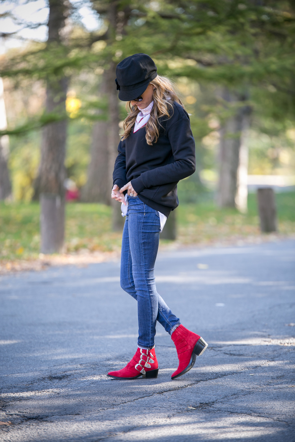 Streetstyle featuring red toga pulla boots