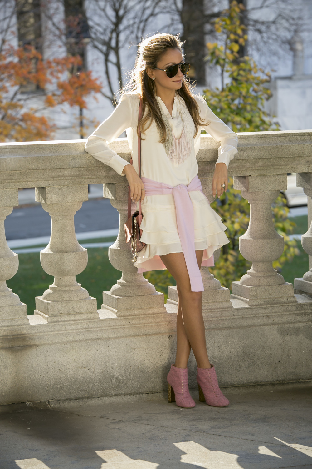 Mignonne Gavigan necklace, Banana Republic dress, and Chanel booties worn by Lauren Recchia