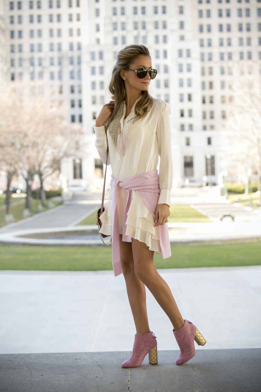 Banana Republic dress and Chanel booties
