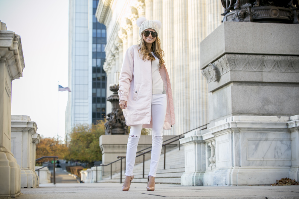 Pink Banana Republic Jacket and Eugenia Kim pom pom hat