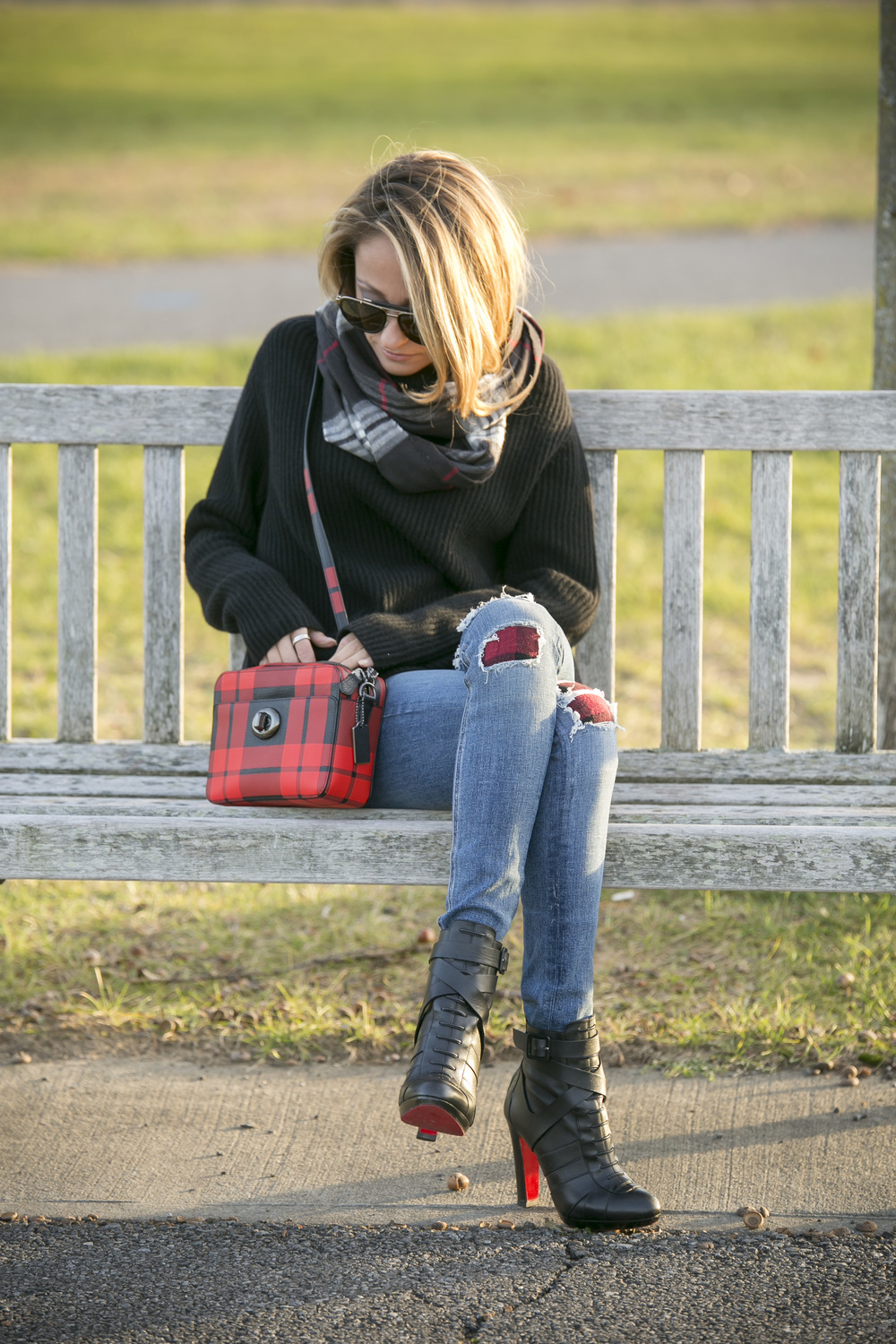 wearing Vince sweater, J.Crew, Rag and Bone jeans, Coach, and Christian Louboutin boots