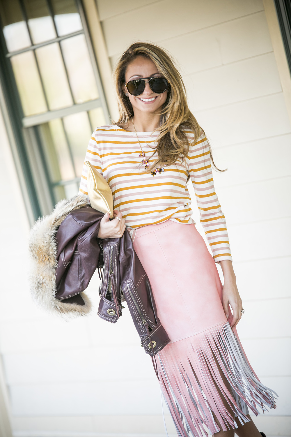 J.Crew stripes and J.Crew skirt