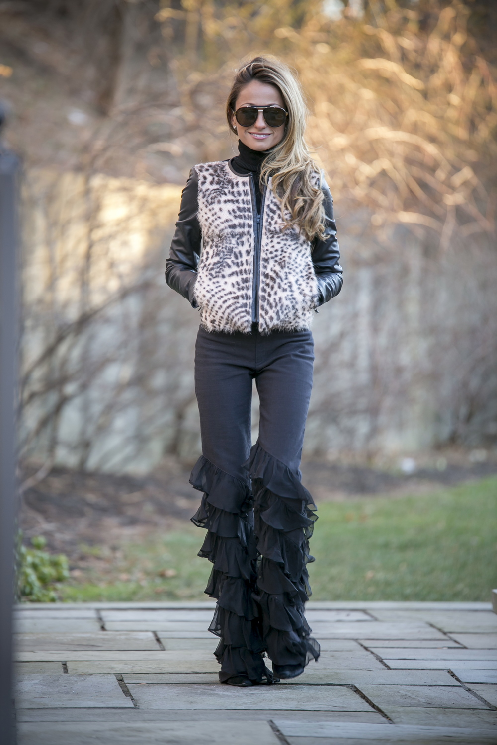 black jeans with ruffles