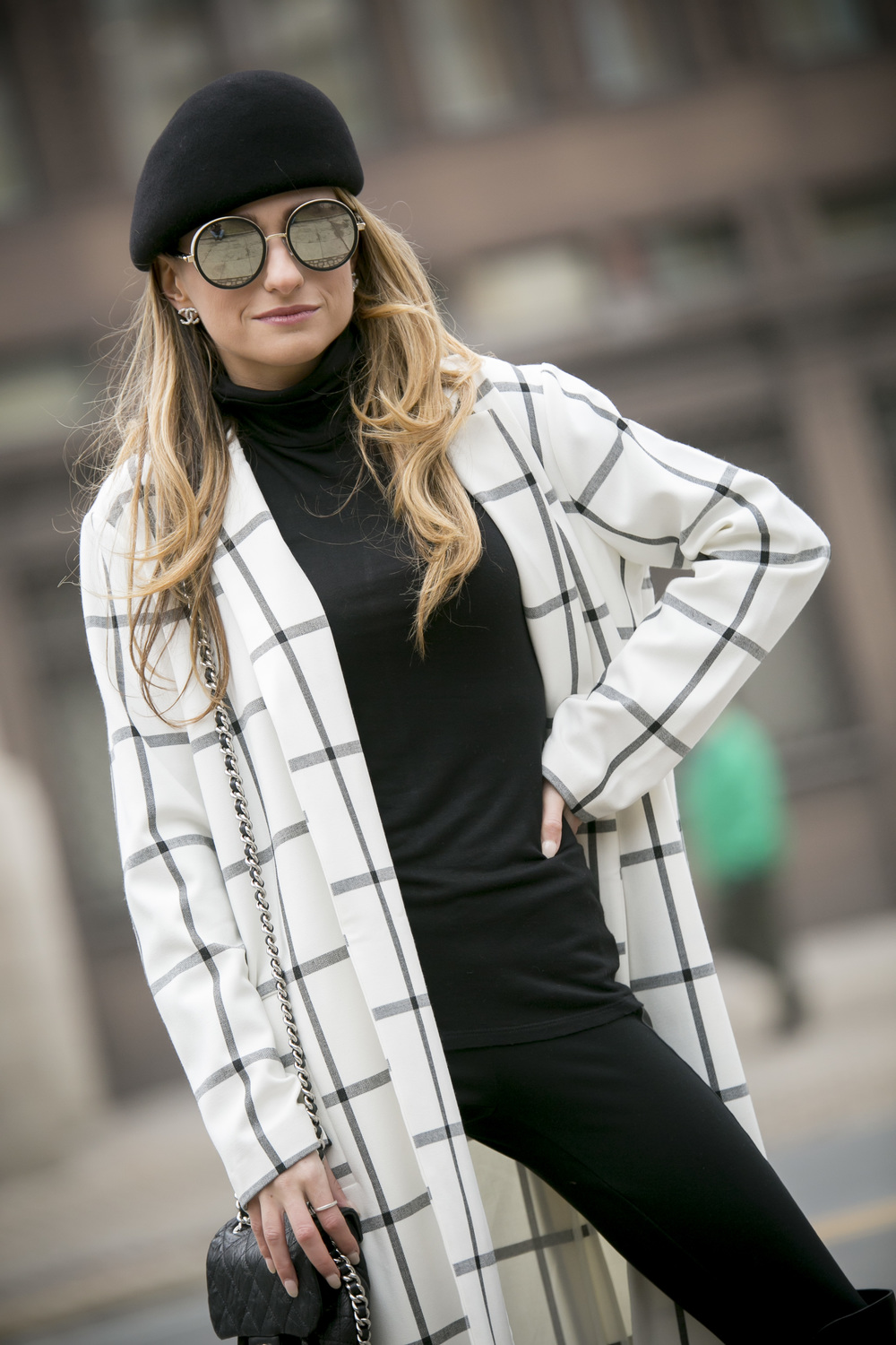 Stella McCartney wool beret and grid jacket from North of Manhattan