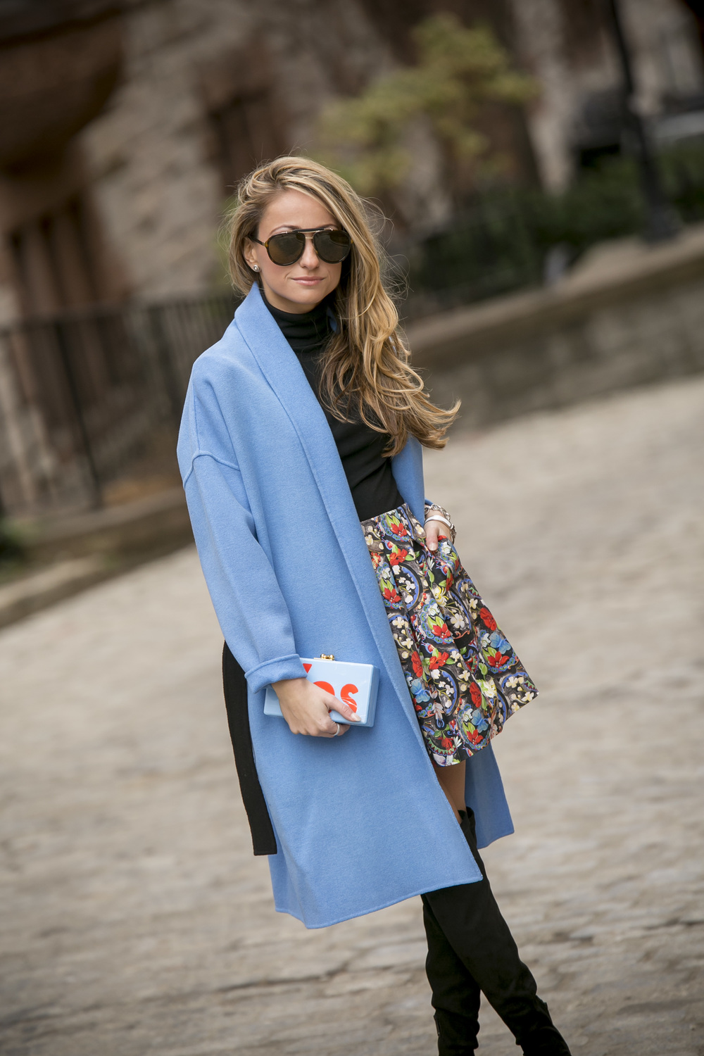 Maje Wool coat, Alice and Olivia Skirt, and Edie Parker Yes clutch worn by fashion blogger Lauren Recchia. New York Fashion Week.