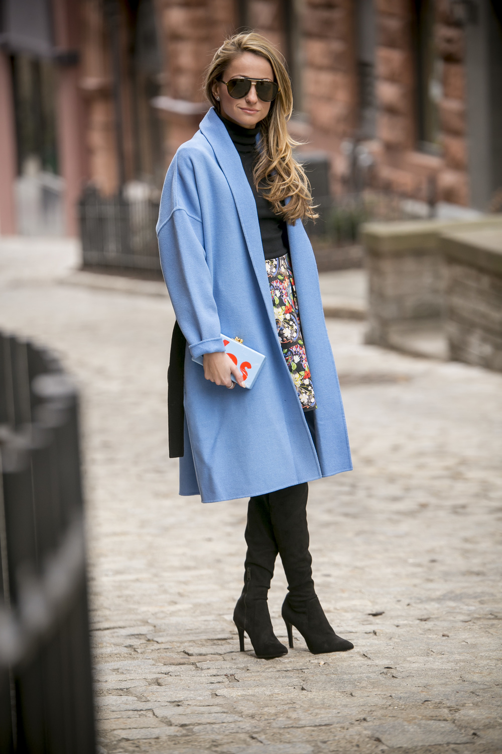 Maje blue coat, alice and olivia floral print skirt, and Edie Parker Yes clutch. Fashion and Style inspo from Lauren Recchia NYFW