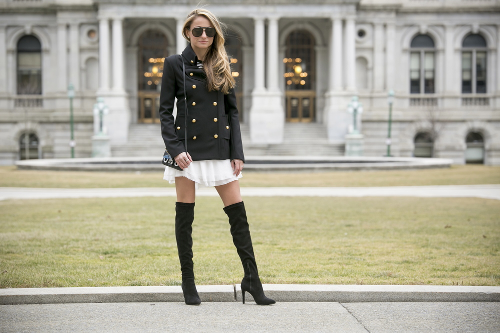 Fashion Blogger wearing Intermix online blazer, tulle skirt, over the knee boots, and fend bag