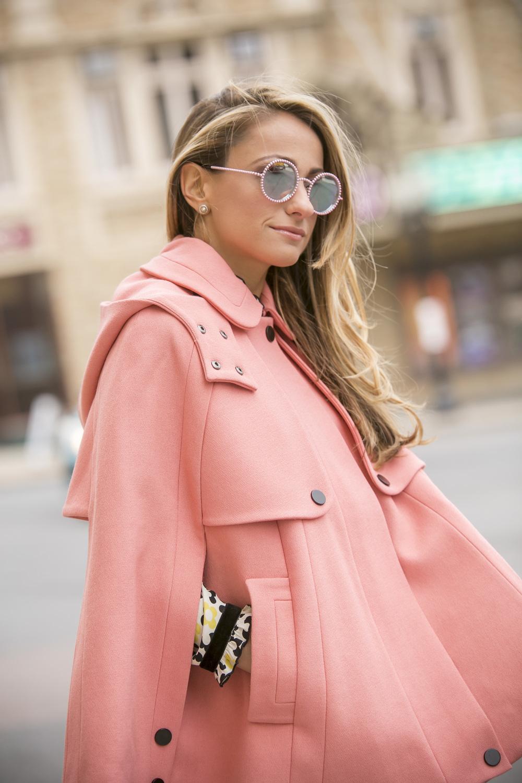 Orla Kiely Pink crepe cape