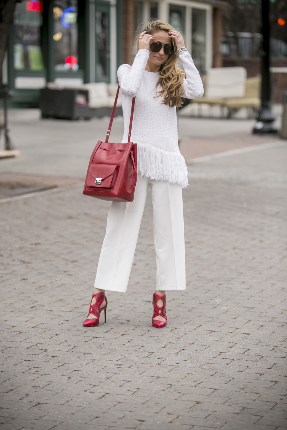 Theory fringe sweater, topshop pants, alexandre birman red pumps, loeffler randall bag