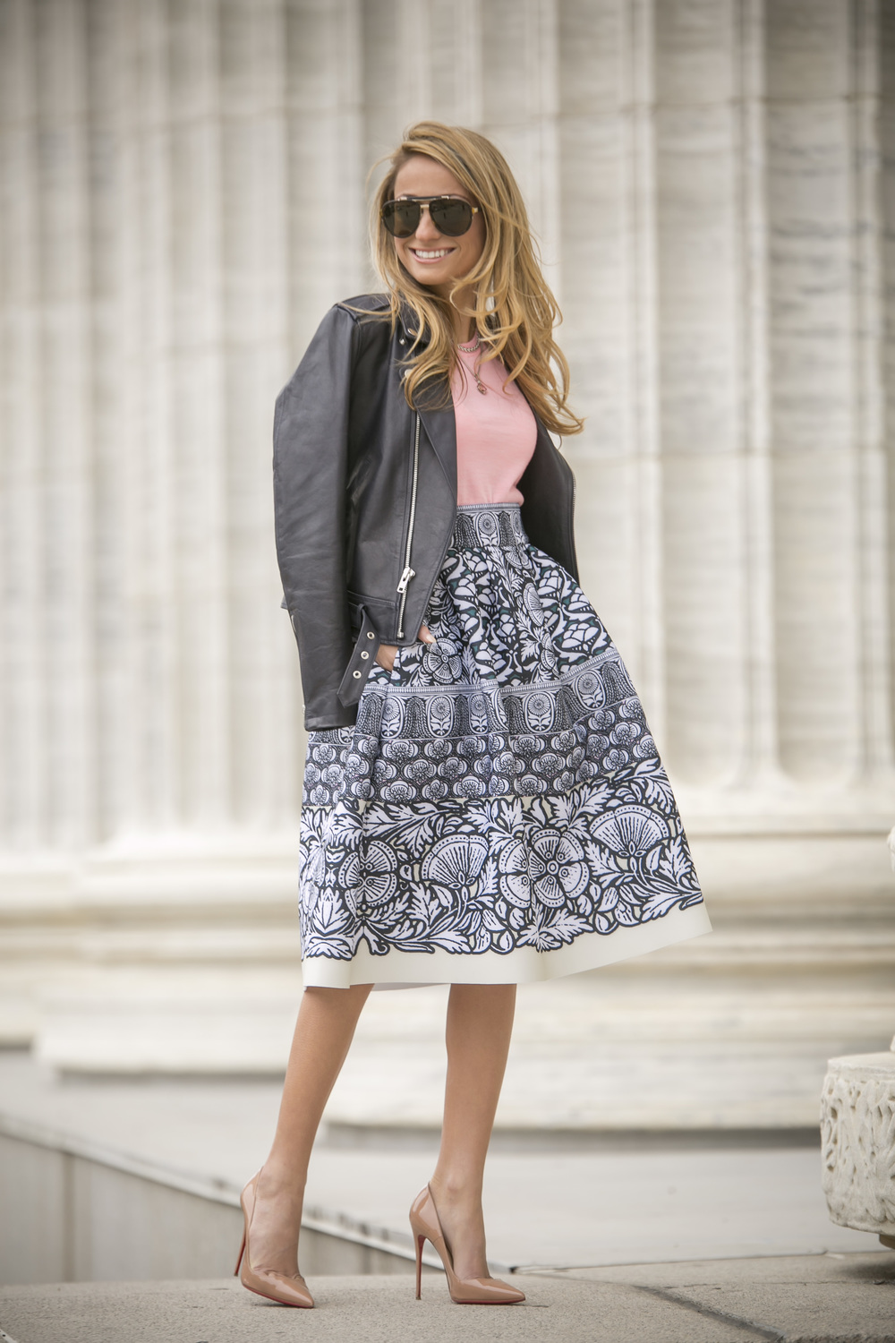 Skirt:Maje|Top:J.Crew|Jacket:Theory(older)|Pumps:Christian Louboutin Dino Petrocelli Photography