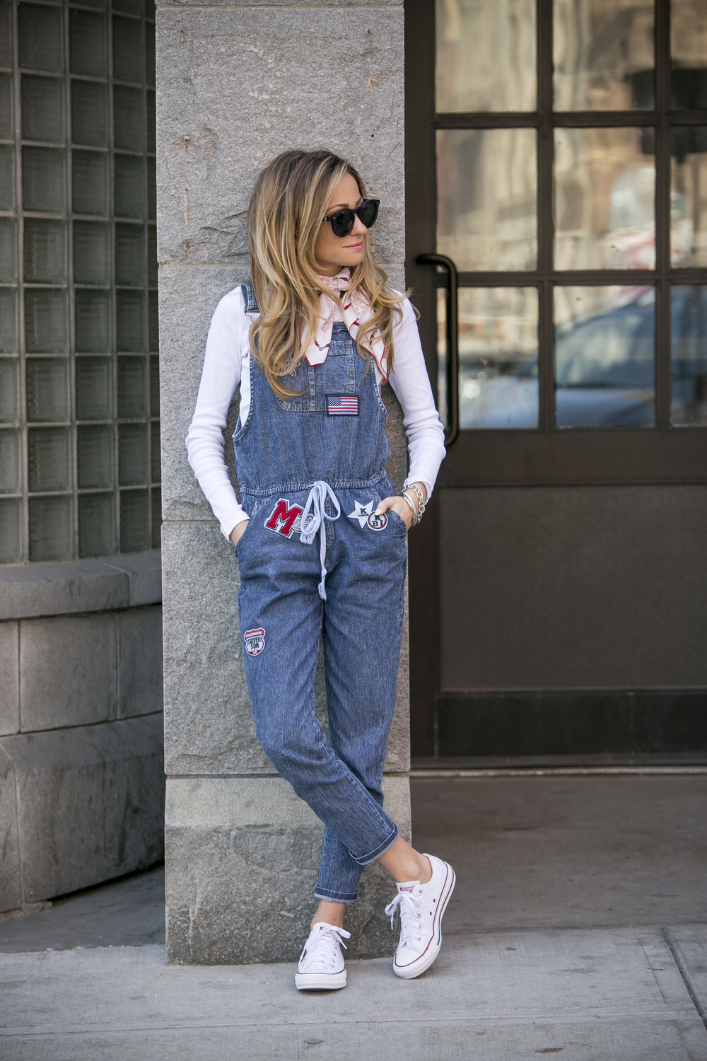 Denim Overalls with Patches