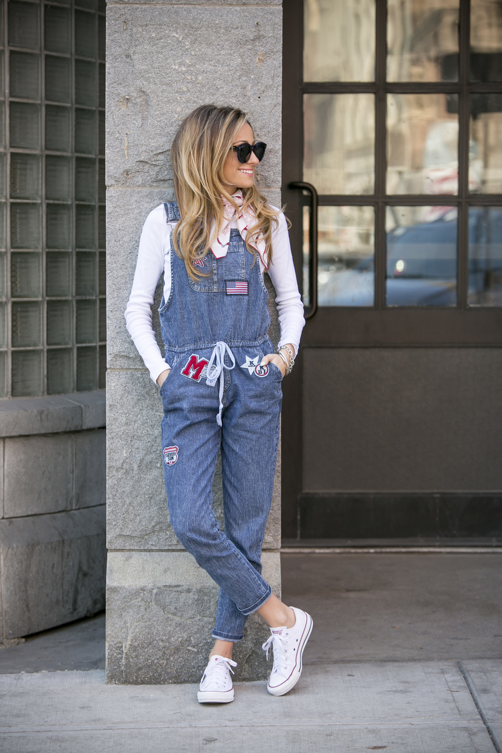 Streetstyle overalls worn with converse