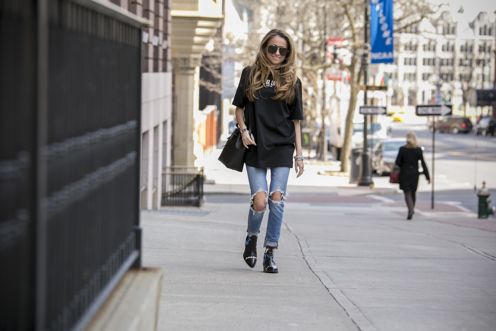 lauren recchia from north of manhattan wearing givenchy, levi's, and fendi