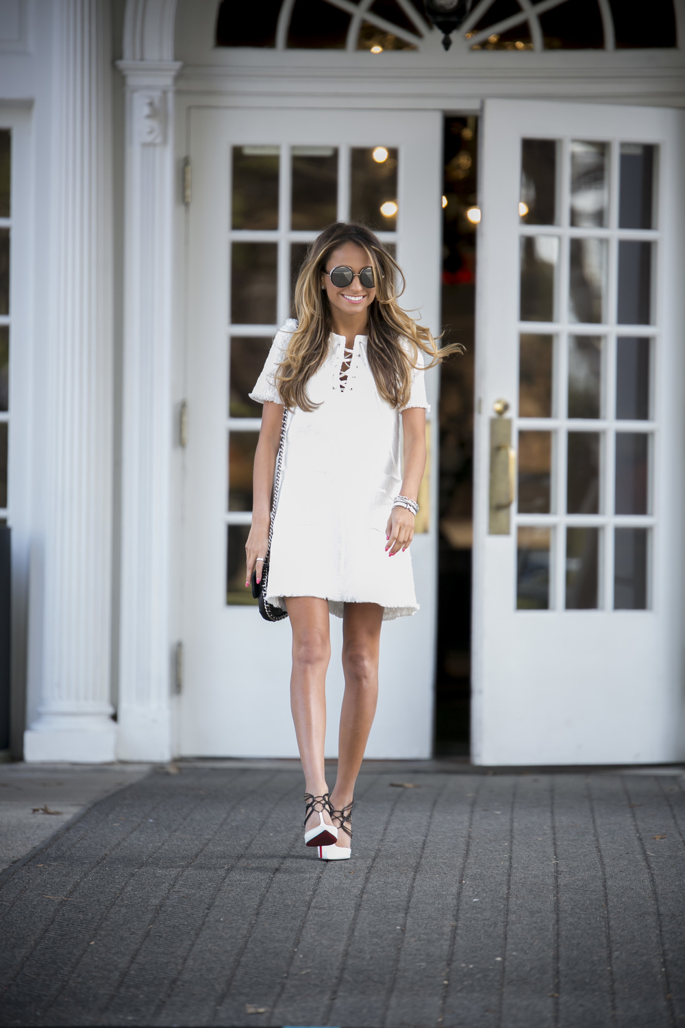 white lace up shift dress