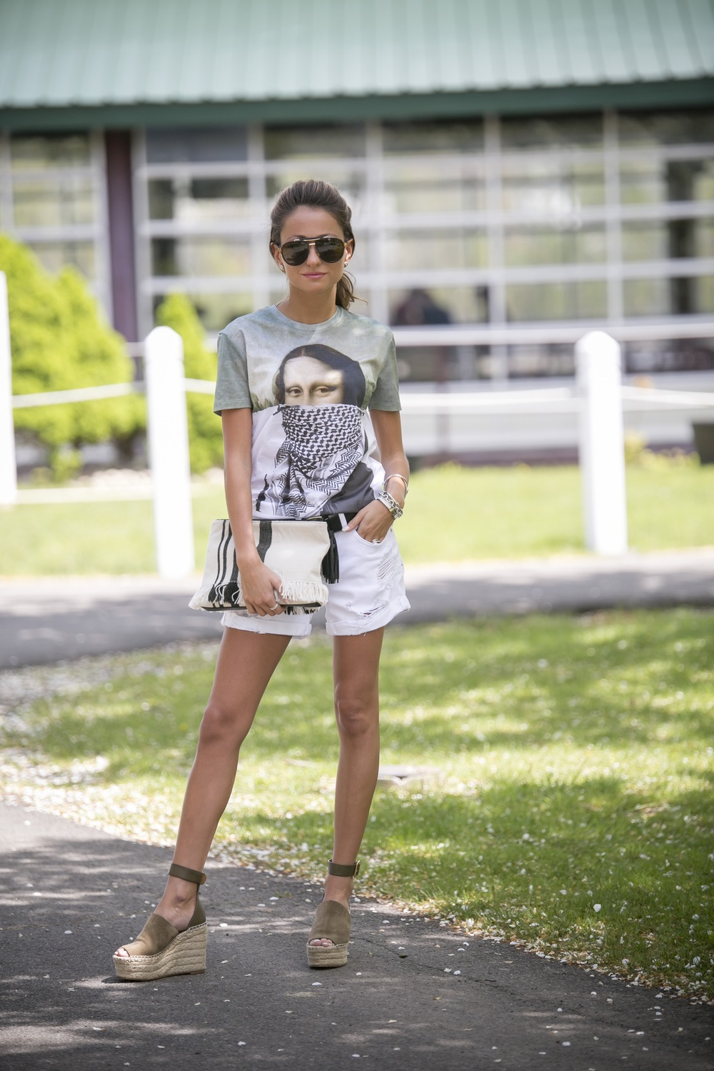 Mona Lisa graphic tee and chloe wedges worn by Lauren Recchia from the fashion blog north of manhattan