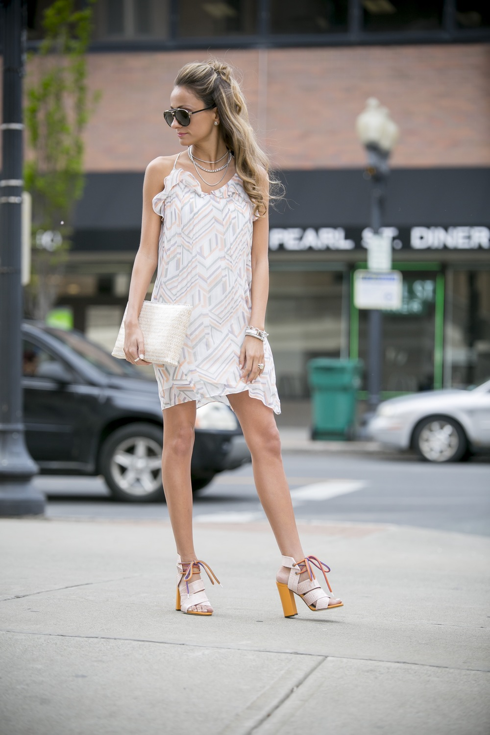 rebecca mink off pattern dress worn with MSGM sandals