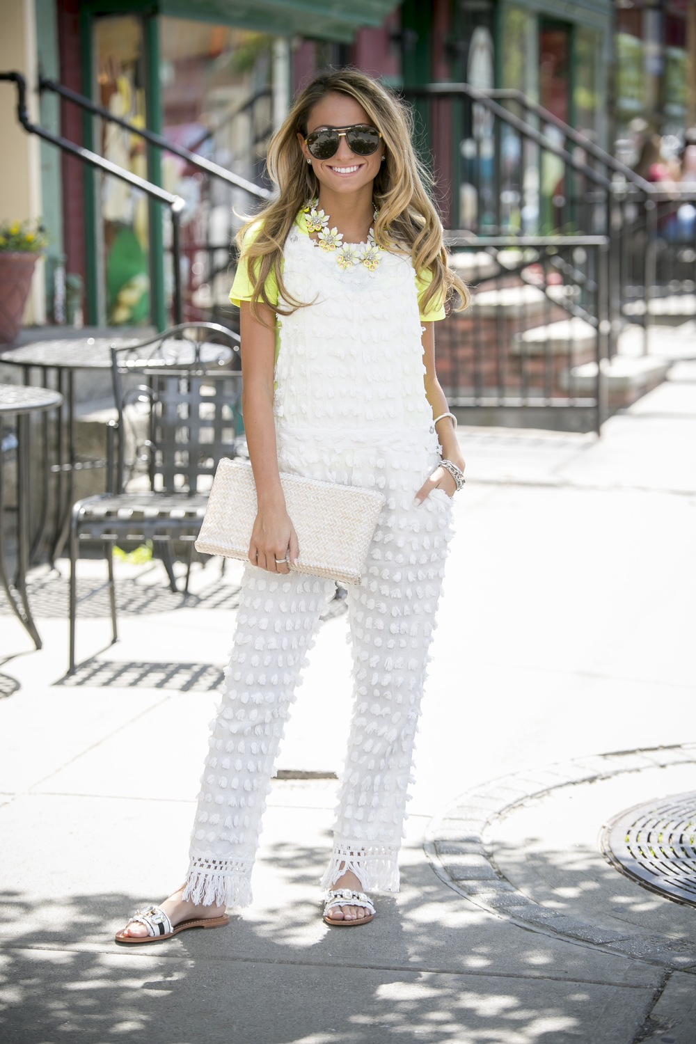 adorable spring streetstyle in pom pom overalls, kate spade sandals, and J.Crew accessories from North of Manhattan fashion blog