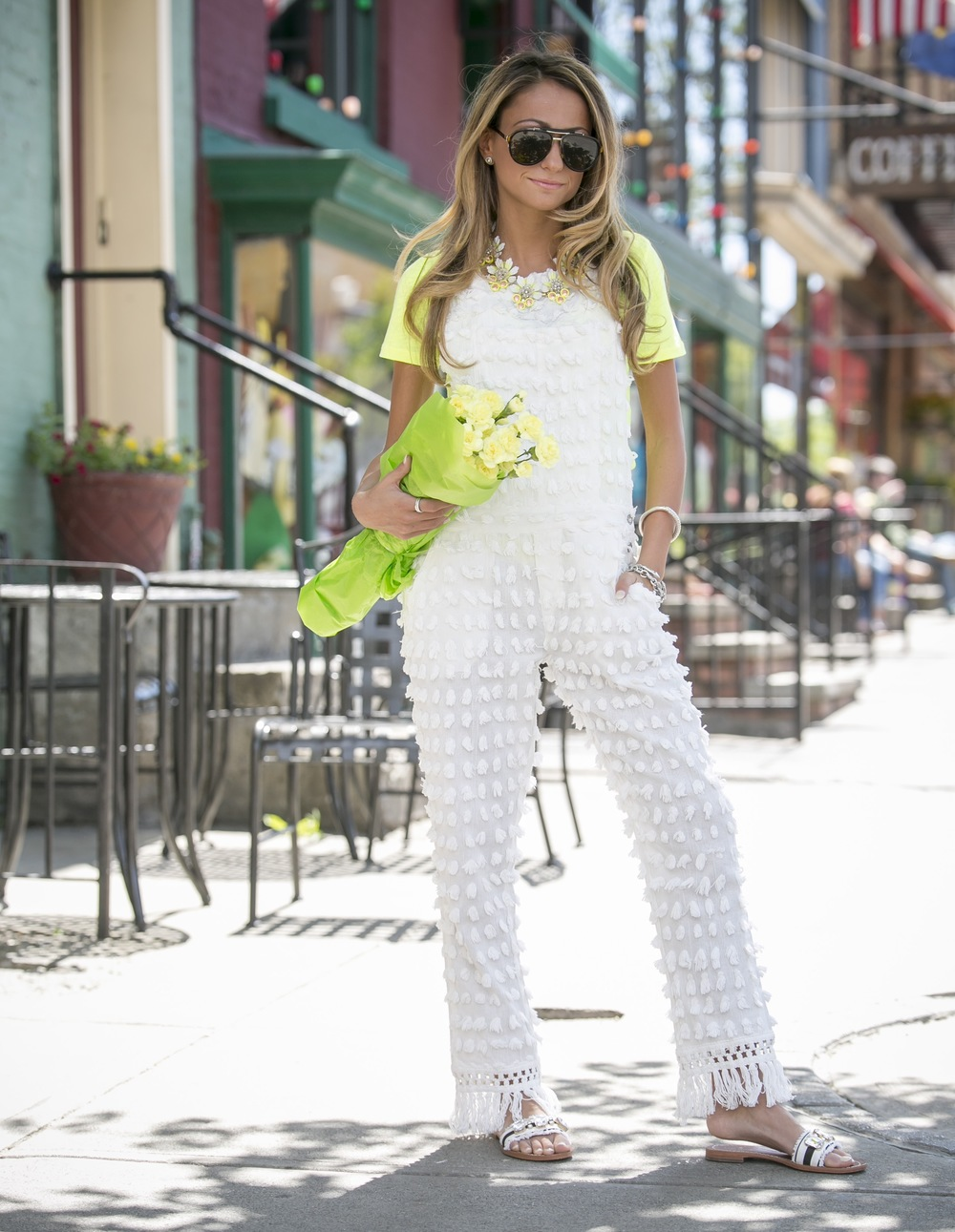 overalls trending for spring 2016 including this pair with allover pompoms