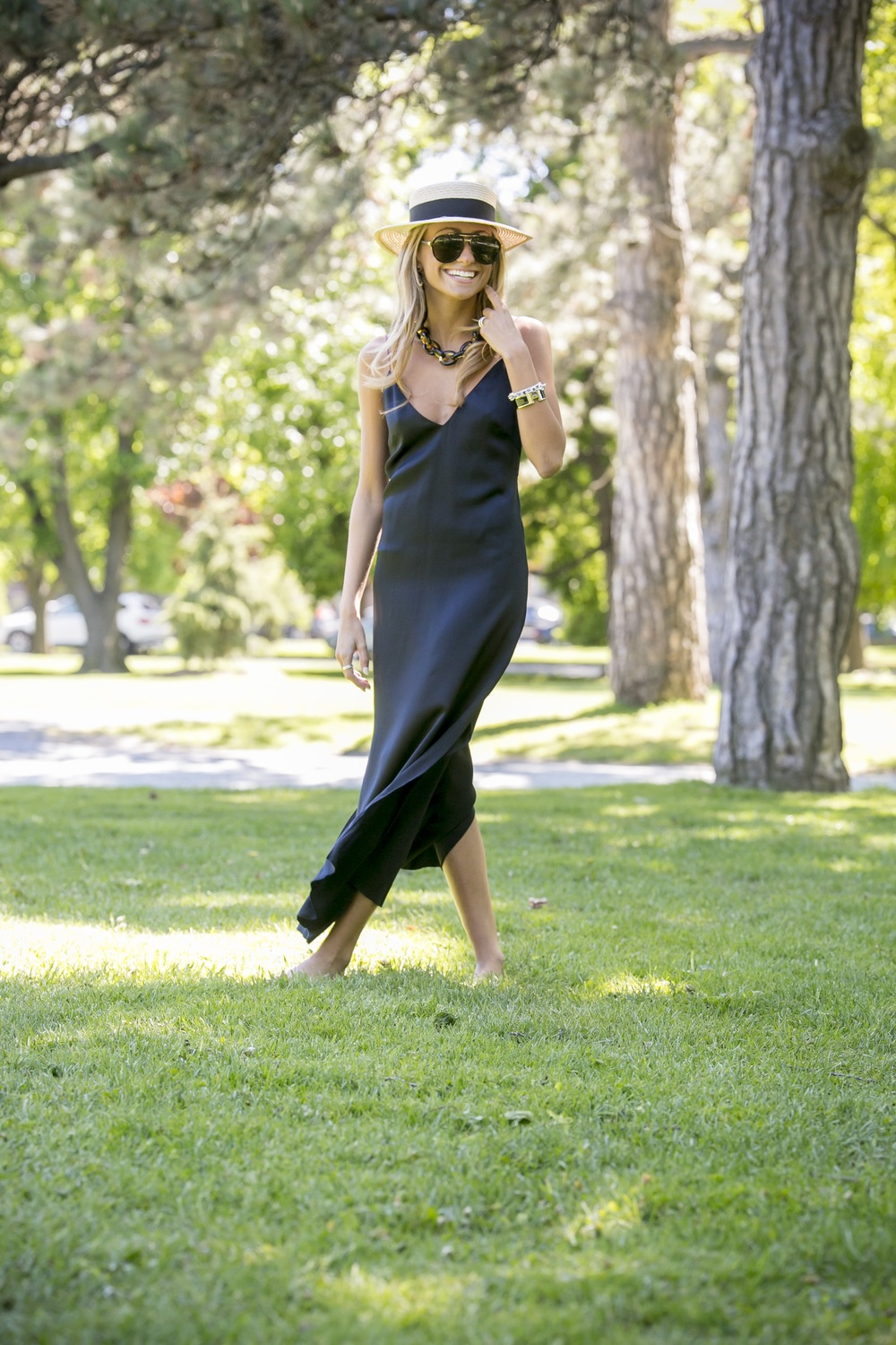 one of the biggest spring trends for 2016 is the black silk slip dress which can be worn as seen here or also layered with a shirt underneath