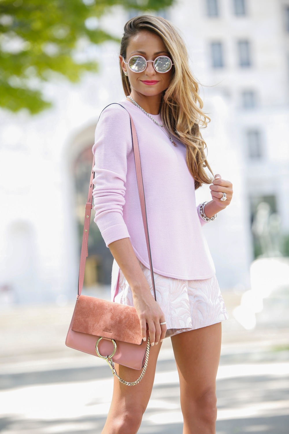 Sweater: A.L.C. |Shorts: Exclusive for Intermix |Pumps: Christian Louboutin |Bag:Chloe ( similar )    Dino Petrocelli Photography